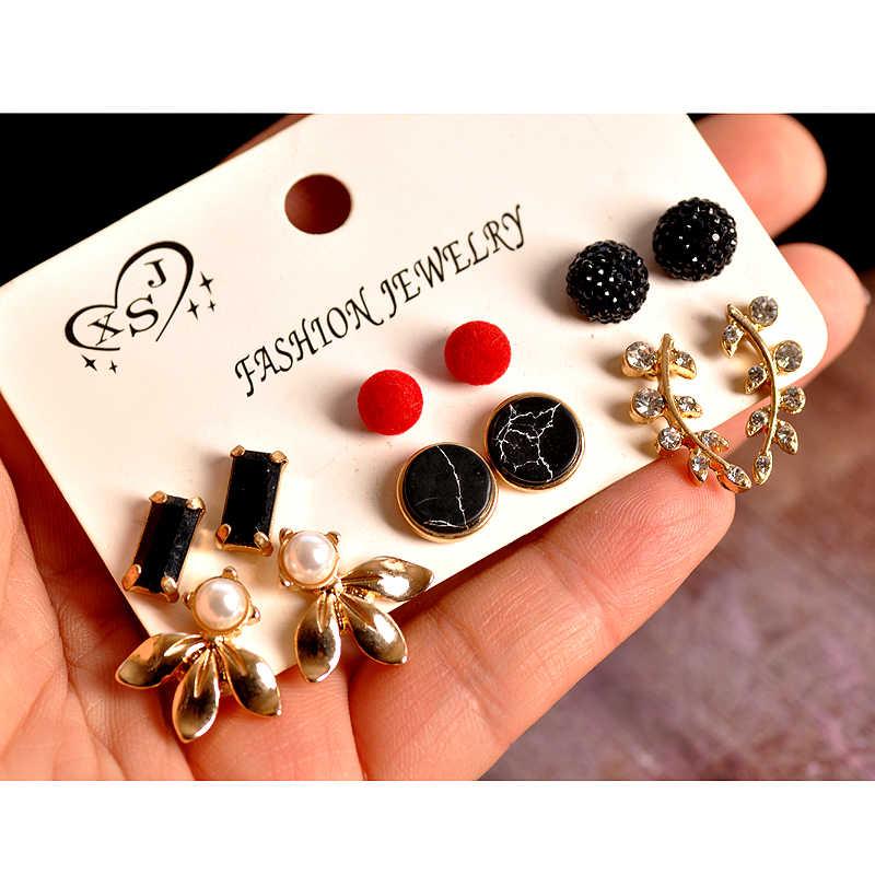 新ファッションレディースジュエリー卸売女の子真珠赤と黒耳スタッドマッシュアップ 6 ペア/セット美しいイヤリング送料無料