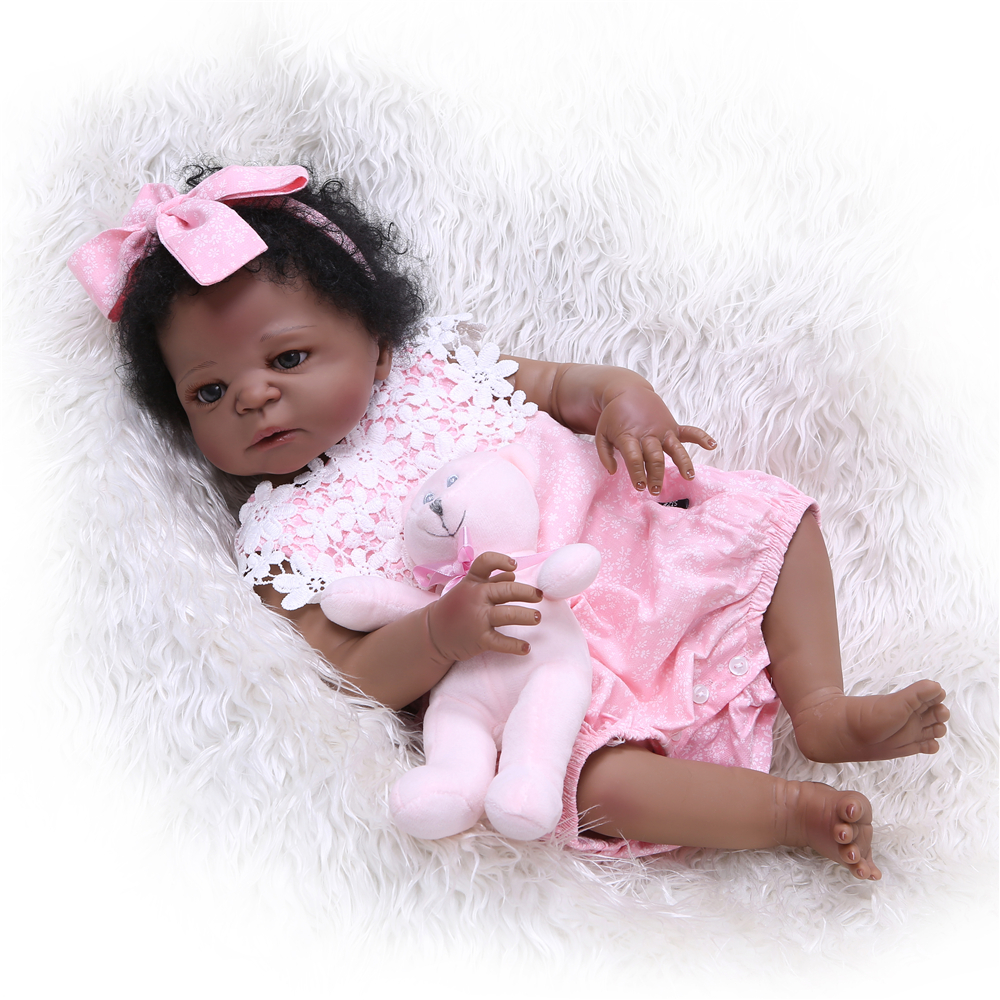 NPK 55cm Full Silicone Reborn baby Doll 22 inch black girl all sillicone doll reborn fashion baby girl dolls for kits gifts toys шкурка для скейтборда для скейтборда nomad hashtag griptape sheet black