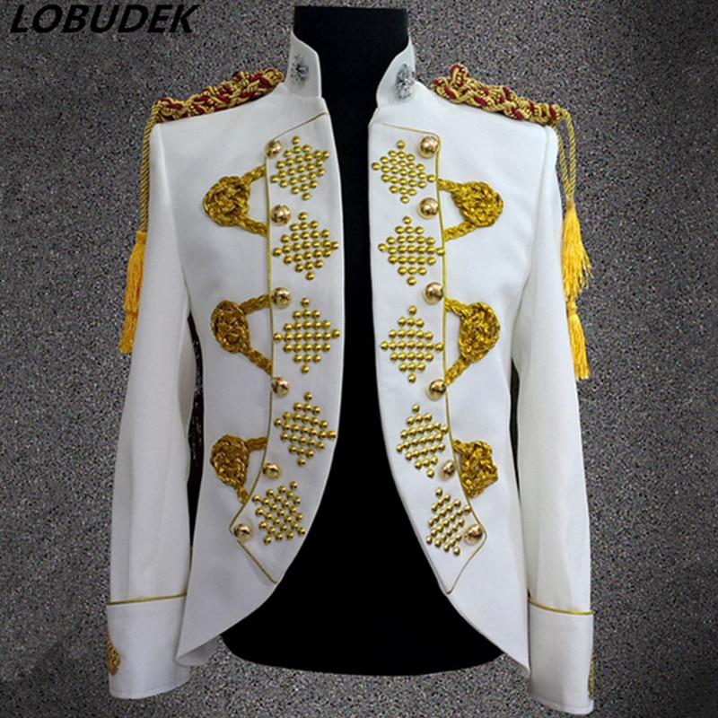 Style Or Glands Angleterre Cristaux Hommes Chanteur Manteaux white Veste Mâle Discothèque Performance Danse Scintillant Cour Costume Vêtements Bar Black red De ZPkXiu