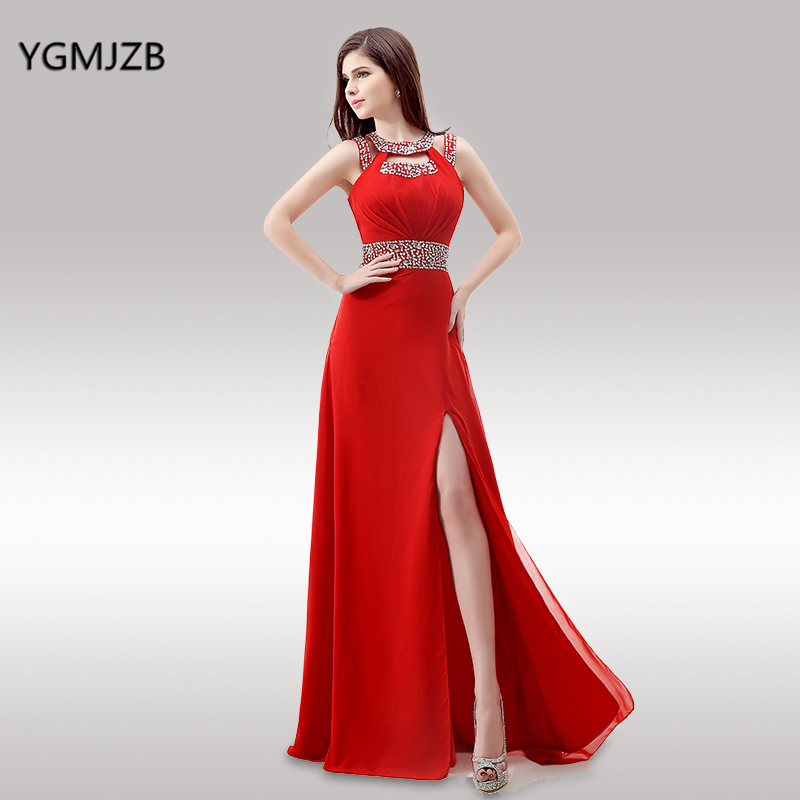 Backless Red Evening Dresses Long 2018 A Line Beaded Crystal High