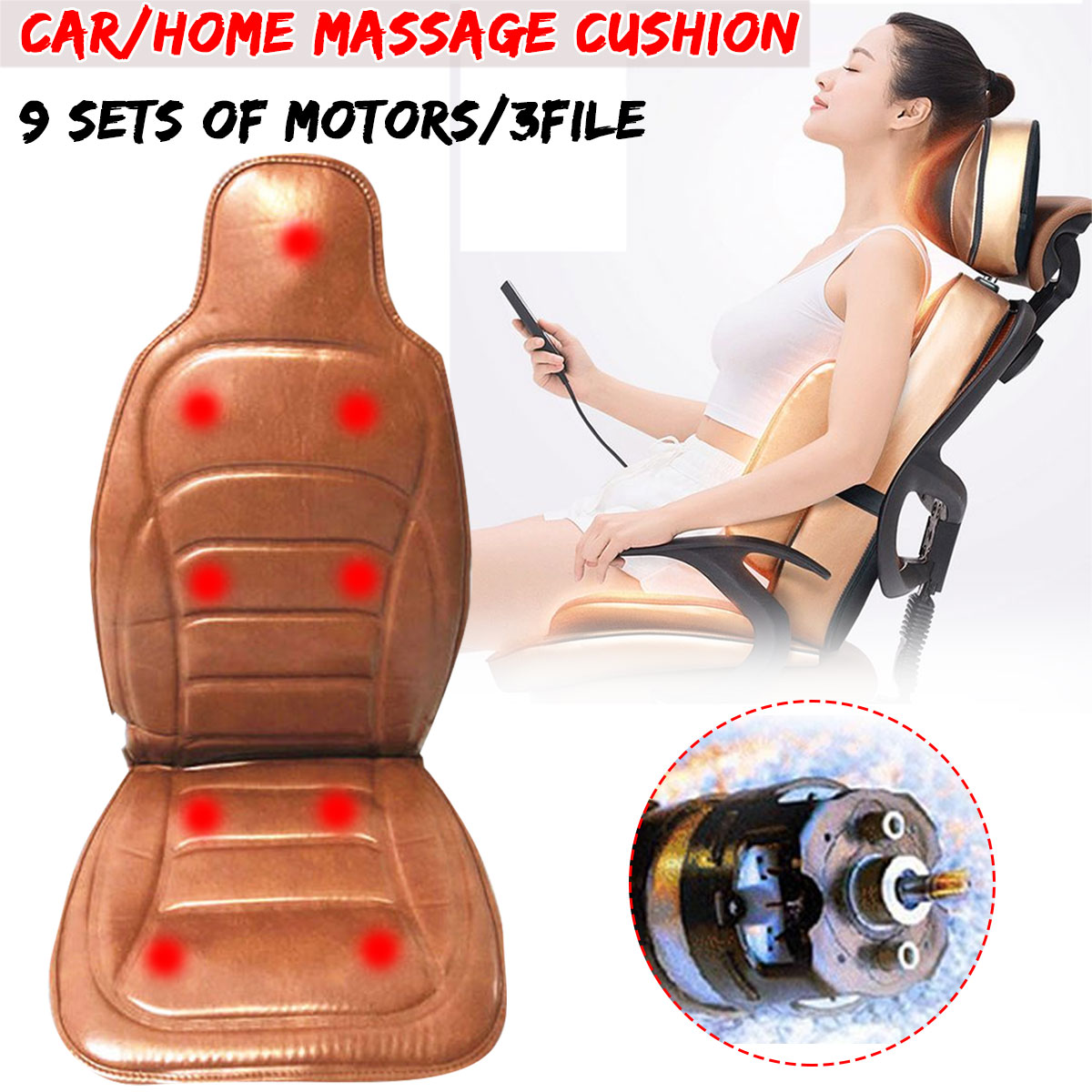 Electric Mulifunction Body Heated Massage Car Cushion Seat Home Office Car Seat Chair Massager Lumbar Back Neck Pad 3 File