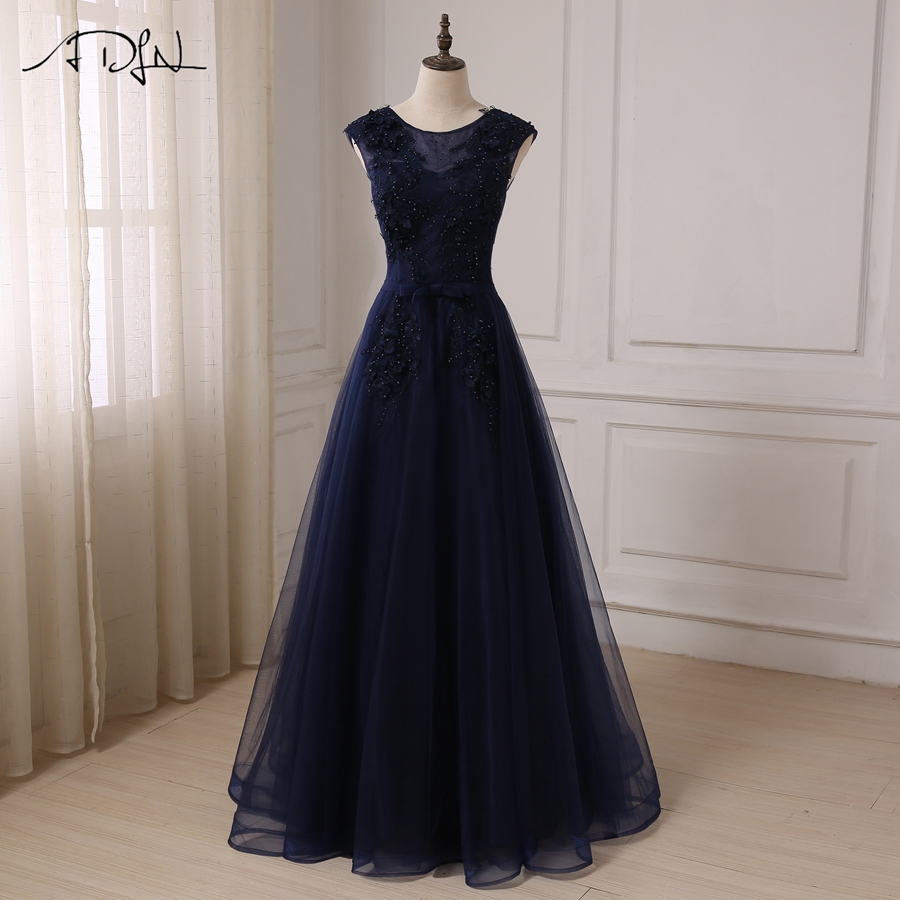 ADLN Navy A line Prom Dresses Cap Sleeve Scoop Neck Floor Length Tulle Evening Party Gowns