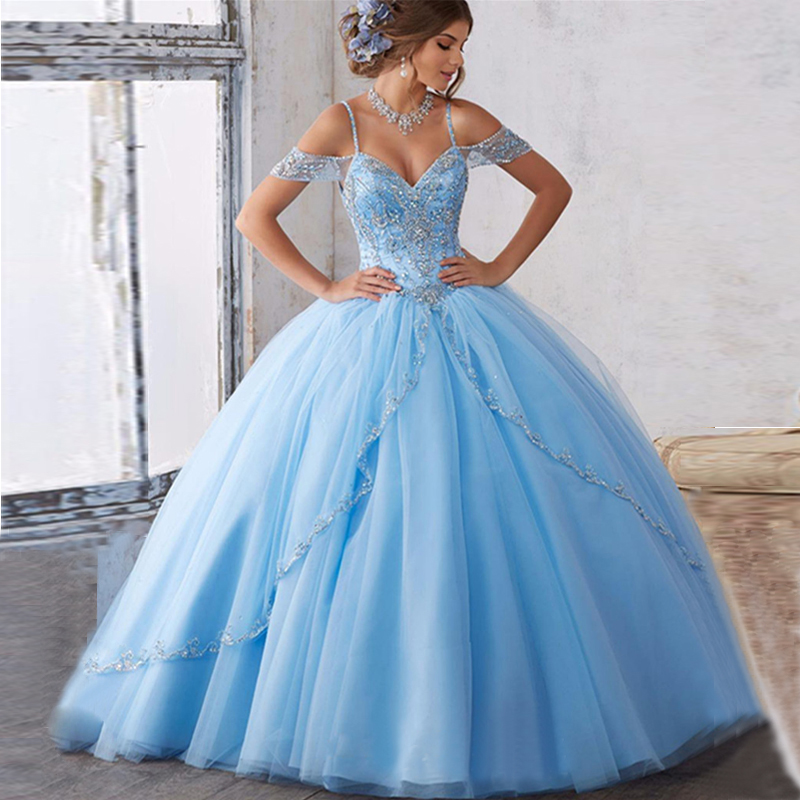 Amazing Luxury Cap Sleeves Blue Burgundy Quinceanera