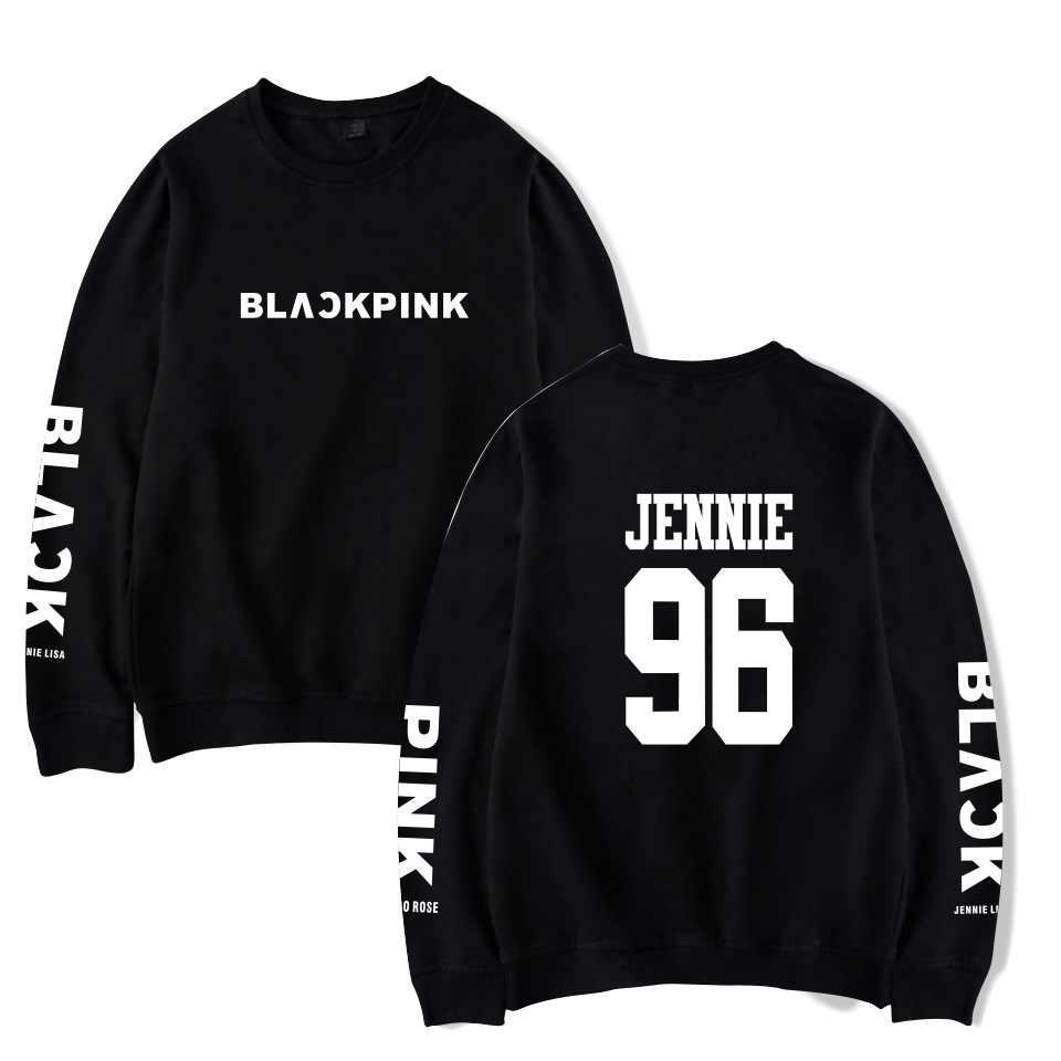KELUOXIN O Neck Pullover Hoodies Women Kpop Blackpink Album Rose LISA JENNIE JISOO Fans Support Capless Sweatshirt Tracksuit