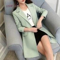 2017 Female Casual Suit ol Office Solid Slim Fit Blazer Women Notched Formal Work Jacket Design Black gray Blazer high quality