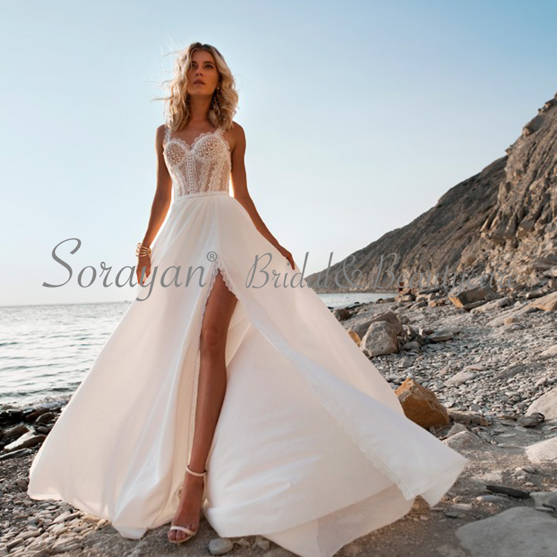2019 Sweetheart Chic Lace Bohemian Casual Chiffon Wedding Dresses Lace-Straps Romantic And Sweet Satin Beach Bridal Gowns AX136