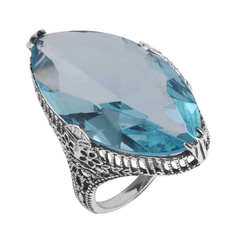 Szjinao Fine เครื่องประดับขายส่งการประมวลผลเงินแฟชั่นแกะสลักสีฟ้า aquamarine ผู้หญิง 925 แหวนเงินแท้