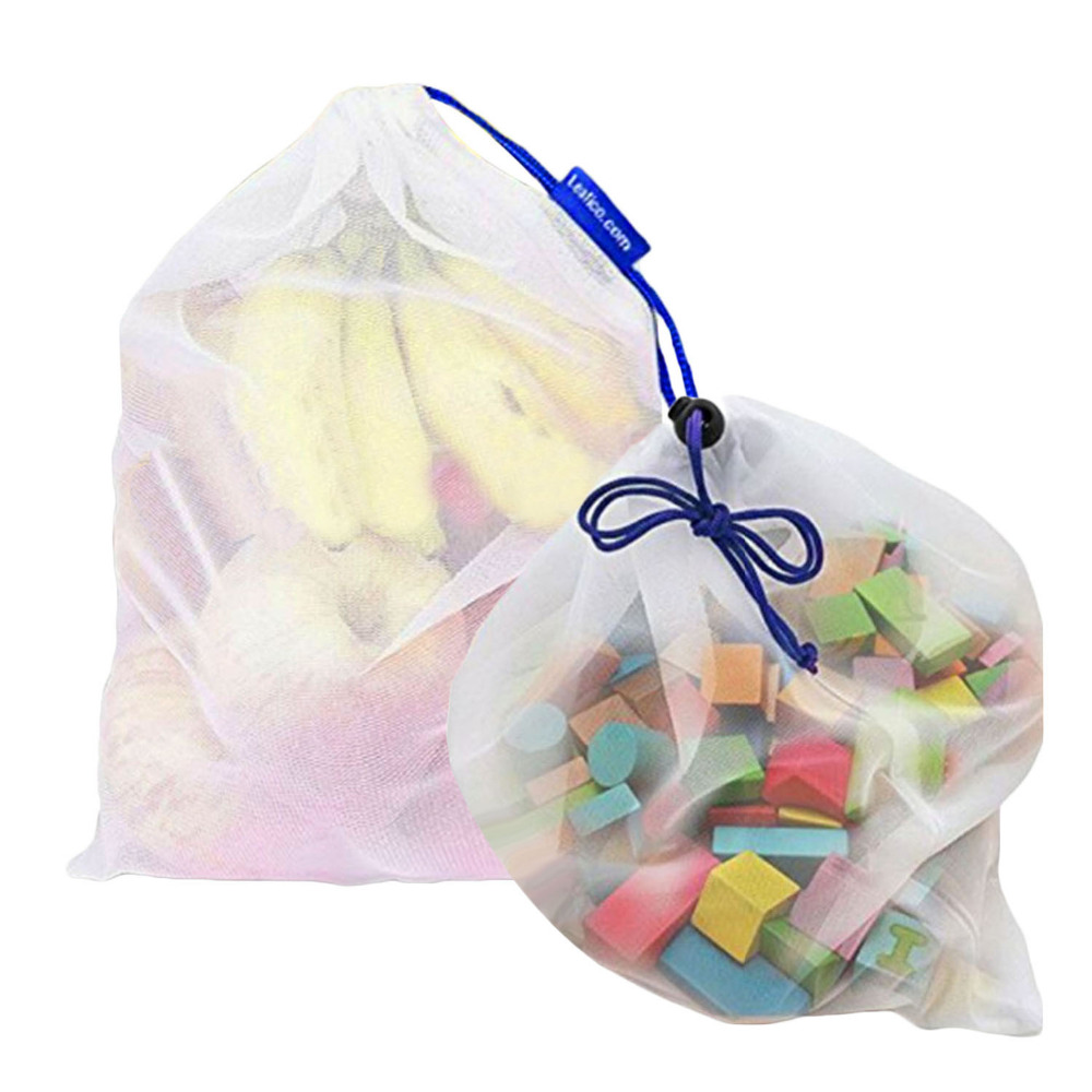 NC 12 pcs Sólido Reutilizável Produzir Malha de Poliéster Sacos De Armazenamento para Cozinha Frutas Vegetais Brinquedos Diversos Lavável Saco Amigável do Eco