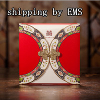 elegant red chinese style wedding invitation card invitations cards with free shipping to Russian Federation ,Belarus