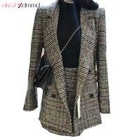 AKSLXDMMD Two Pieces Set Women 2017 New Autumn And Winter Plus Size Fashion Plaid Blazer Skirt