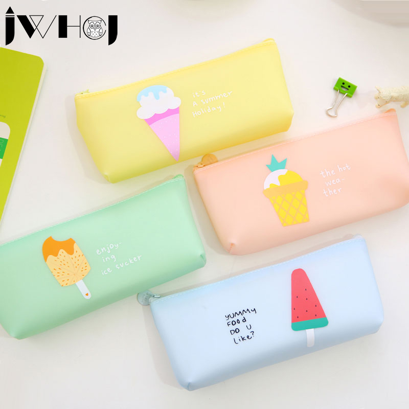 1 x Kawaii Лето Мороженое ручка, сумка на молнии резиновые  водонепроницаемые пенал косметичка подарок детям канцелярские Бесплатная  доставка 6933b7c3e6e