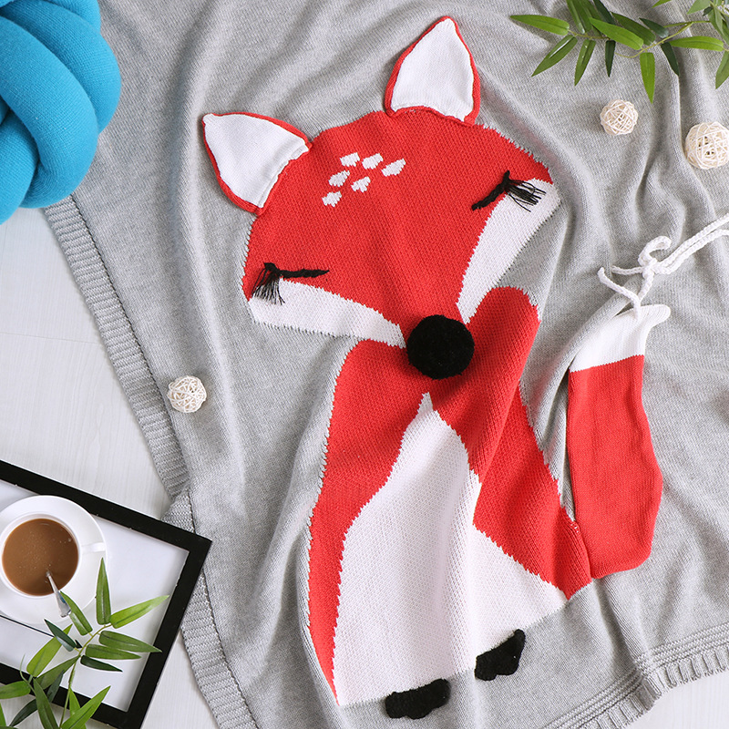 New Hot Sales cartoon fox cat Knitted Blanket Baby Throws 100% Cotton Quilt Towel Soft Blankets print colors 110CM*90CM aibeile 2017 new 3 colors bear elephant flannel baby blanket newborn soft cartoon blankets 100 100cm for beds thick warm kids