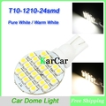 12V T10 1210 3528 24 LED Dome Light 912 921 Backup Bulb W5W 168 Tail Width Lamp, 161 194 Car Maker Light Pure White/Warm White