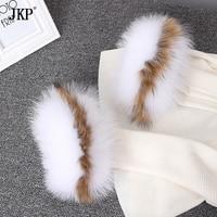 JKP 2018 Real Natural Fox Fur Cuffs Fashion Fox Fur Cuff Arm Warm Women Bracelet Real Fur Hand Bowl Gloves