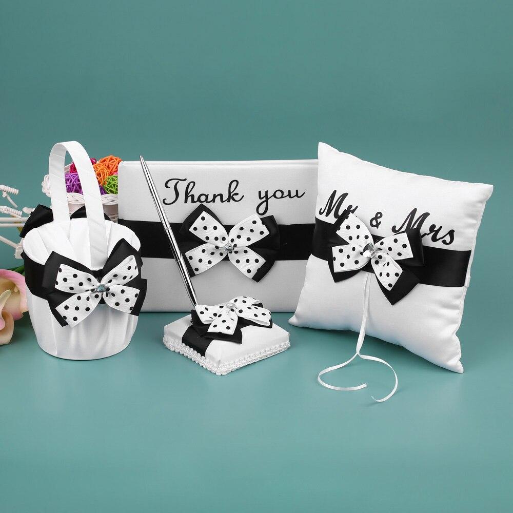 Fournitures de mariage 4 pièces/ensemble Satin fleur fille panier anneau porteur oreiller livre invité porte-stylo ensemble décor avec Bowknot blanc noir - 4