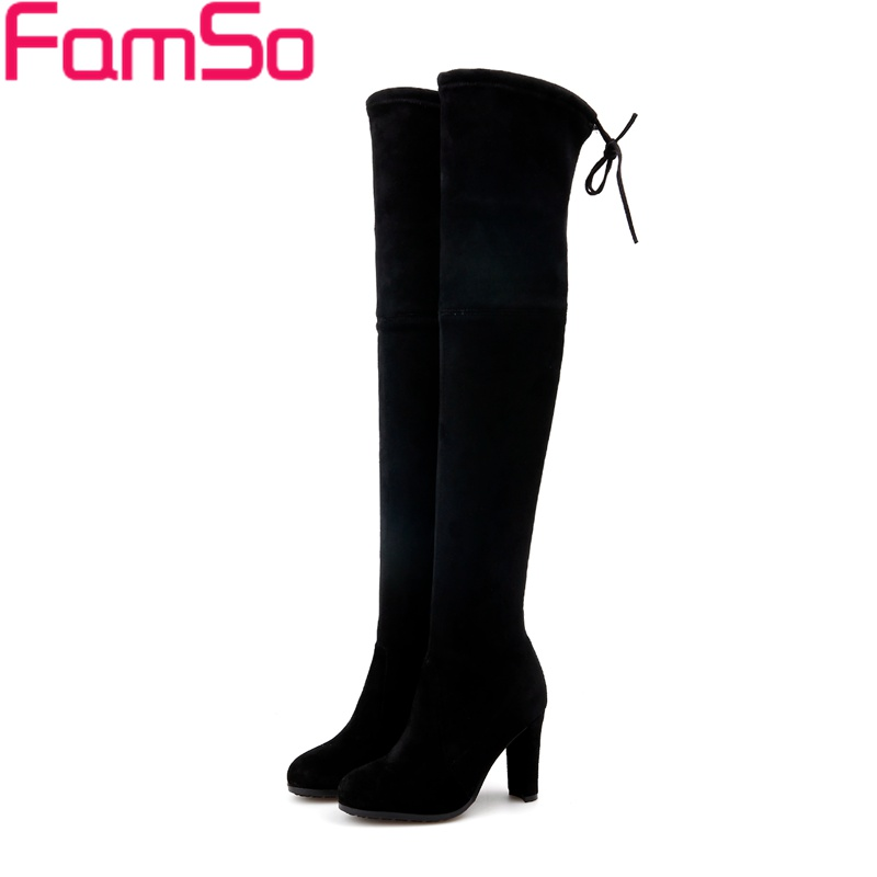 ФОТО Big Size 34-43 2017 New Fashion Women Boots Black genuine leather Boots Retro High Heels Winter Over the Knee Boots ZWB4458