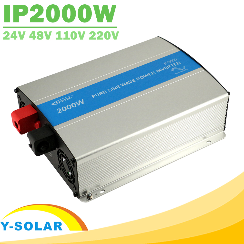EPever IPower 2000W Pure Sine Wave Inverter 24V 48V DC Input 110V 120V 220V 230VAC Output Solar Panel off Grid Tie Inverter NEW 48v 2000w off grid inverter pure sine wave epsolar shi2000 42 with optional energy saving mode for household appliances new