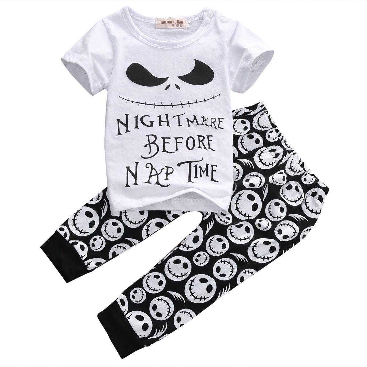 2PCS Monster Toddler Newborn Baby Boys Short Sleeve Letter T-shirt Tops+Pants Casual Outfits Set Clothes
