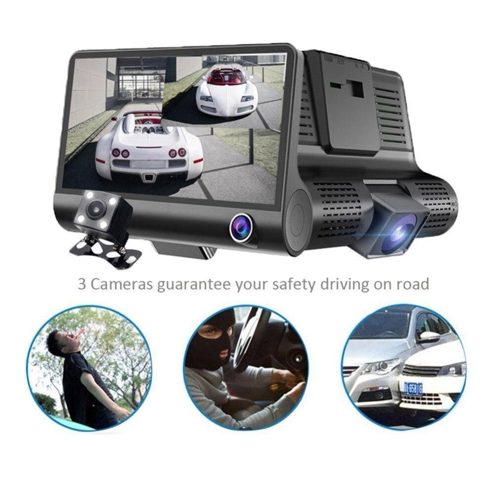 4.0 ''3 voies voiture DVR caméra enregistreur vidéo vue arrière Auto enregistrateur avec deux caméras Dash Cam DVRS double lentille Blackbox
