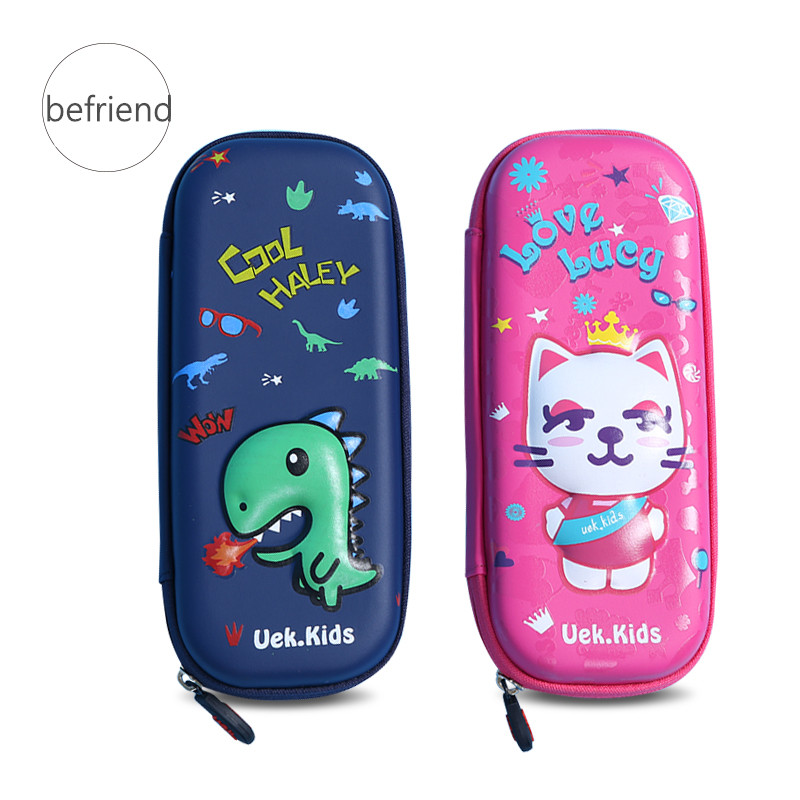 EVA Cute Cartoon Pencils Case Large Capacity Stationery Dinosaur Cat Pencil Box Pouch Pencil Bag Light Kawaii Pencil Case School new shop 220904 primary school students pencils female disney ice and snow children cute box simple large capacity pencil case