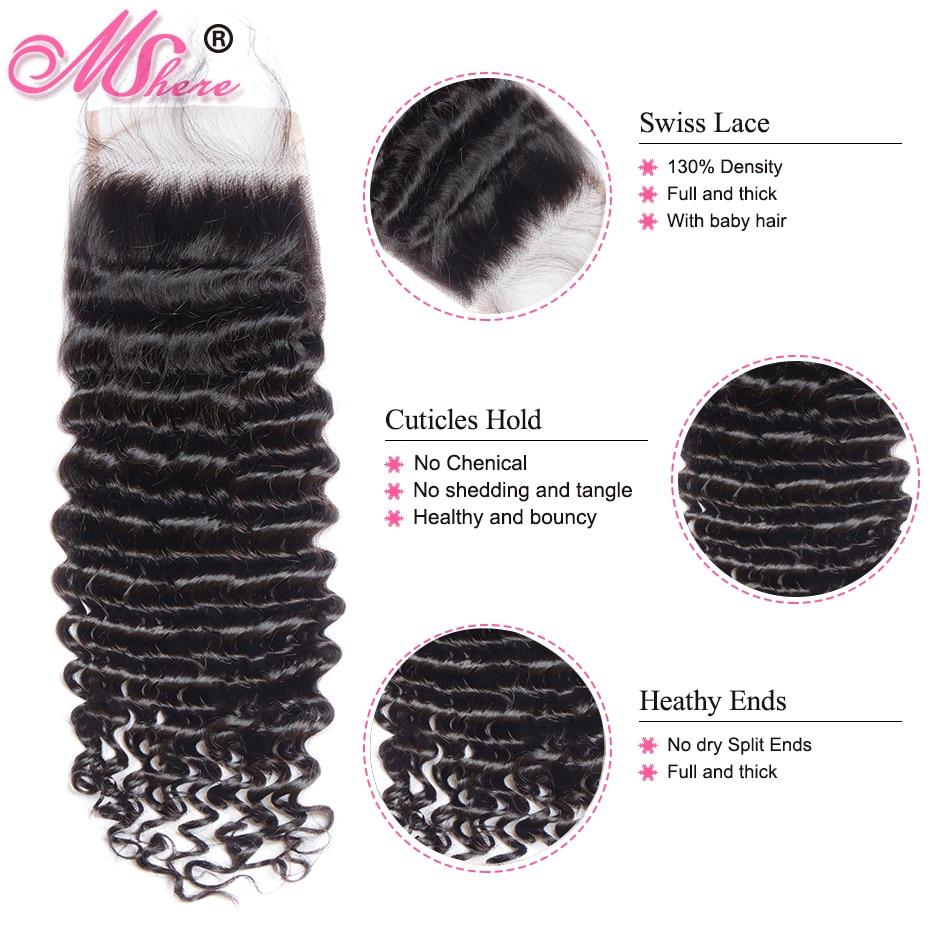 HTB1ah0datfvK1RjSspfq6zzXFXaV Mshere 4PCS/LOT Peruvian Deep Curly Wave 3 Bundles With Closure Non Remy Hair Free Part Lace Closure With Human Hair Bundles 1B#