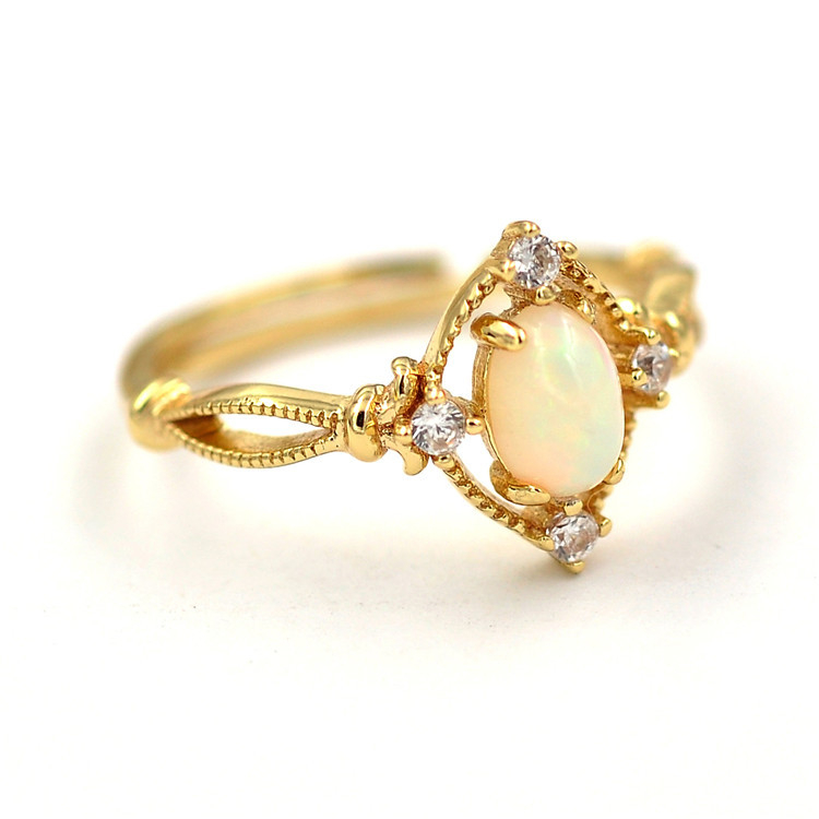 New product Open 925 Silver Ring , Main stone: egg shaped opal.