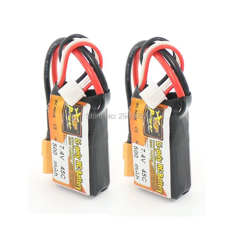 2pcs ZOP Power LiPo Battery 7.4V 500mAh 45C 2S XT60 Plug For RC Quadcopter Drone Helicopter Car Airplane zop power 2200mah 11 1v 3s 45c lipo battery xt60 plug for rc quadcopter helicopter multicopter drone