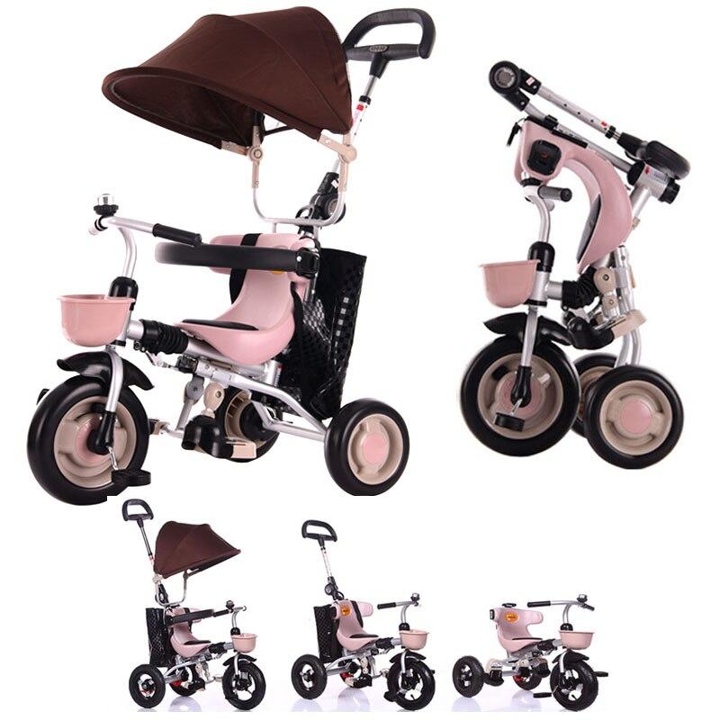 Pliable Bébé Enfant En Acier Tricycle Poussette Vélo Vélo Parapluie Panier Léger Enfant Trois Roues Poussette Poussette 1 ~ 4Y