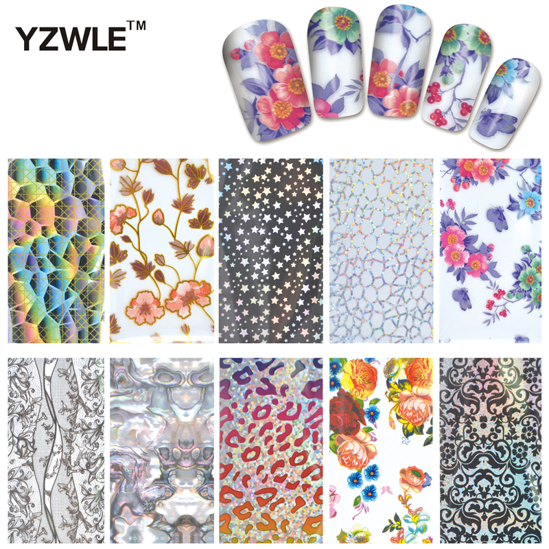 YZWLE 10 Pcs DIY Nail Art Transfer Foil Decal Beauty Craft Decorations Accessories For Manicure Salon #XKT-N21 120m 4cm rainbow laser transfer foil stickers nail art wraps diy manicure fingernail decorations beauty salon supply wy300