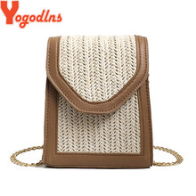 Yogodlns 2019 3 Colors New Style Women Bag Square Straw Shoulder&Crossbody Bag Rattan Handmade Woven Bag Fanshion Messenger Bag(China)