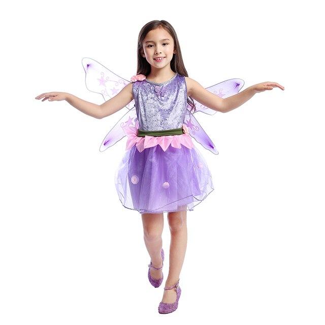 Enchanted Girls Purple Butterfly Fantasy Fluttering Garden Flower Fairy  Dress-up Kids Halloween Themed Party Costume 637b1bf8b9f9
