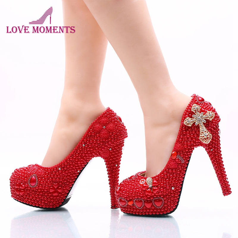 2018 Lady Red High Heels Bridal Wedding Party Shoes with Pearl and Rhinestone Cross Mother of Bride Shoes Platform Prom Pumps