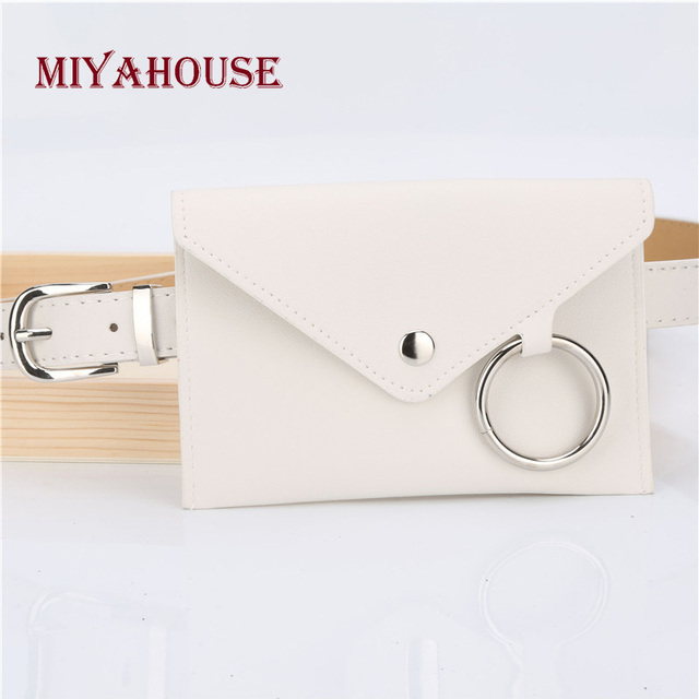Miyahouse Female Waist Bag Solid Color Women Belt Bags White PU Leather Small Bag Long Belt Ladies Fashion Waist Bags