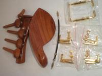 1 Set Rose Wood Fiddle Parts with Gold Color Chin Rest and 4 Violin Tuners & Nylon Tail Gut From 1/4 1/2 3/4 and 4/4