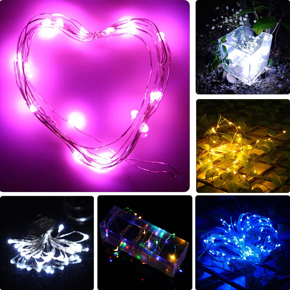 1 шт. Медный провод Фея Строка свет лампы 2 м 20 светодиодов Рождество Праздничная Свадебная вечеринка украшения сада ali88