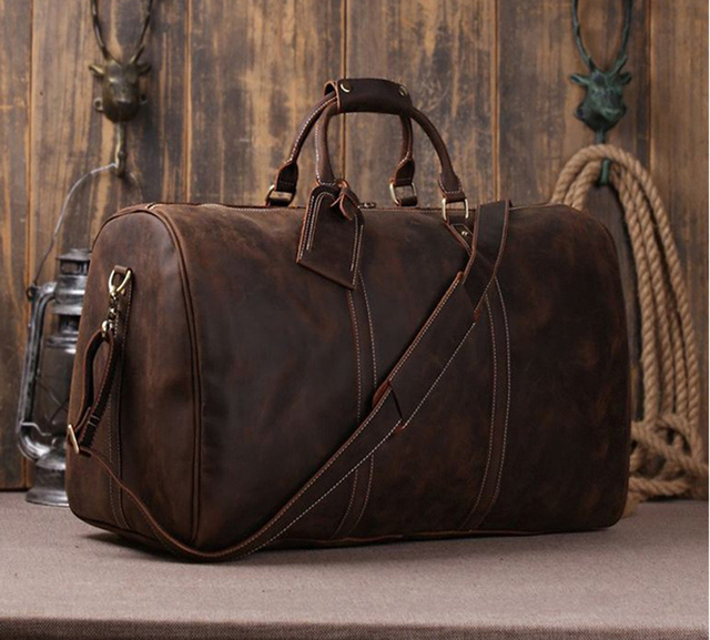 Boston Crazy Horse Leather Men Travel Bags Luggage Bag Large Genuine Duffle