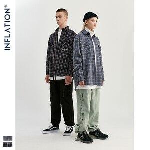 Image 2 - Мужская классическая Повседневная рубашка INFLATION, клетчатая рубашка с длинным рукавом, хлопковая винтажная рубашка 92107W, осень 2020