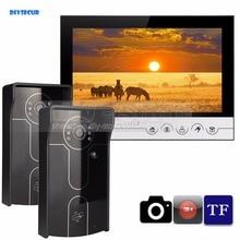 DIYSECUR 9inch Video Record/Photograph Video Door Phone Doorbell Waterproof HD RFID Camera Home Security Intercom System 2V1