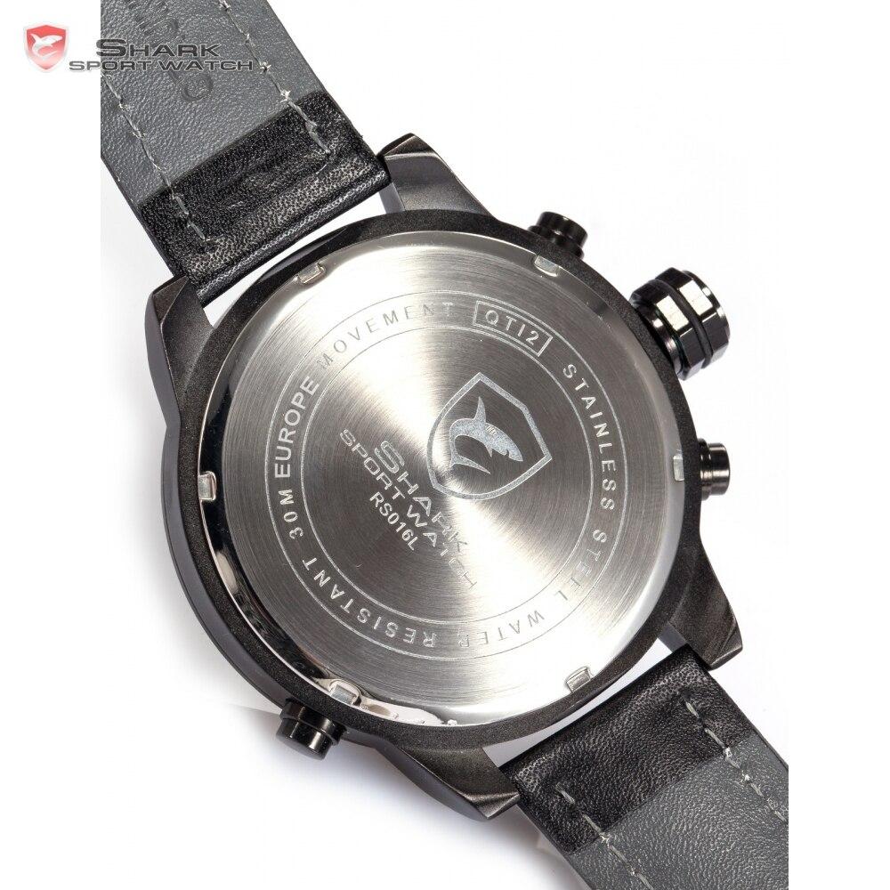 Requiem requin Sport montre 6 mains calendrier double fuseau horaire noir tableau de bord bande en cuir 3ATM étanche hommes horloge militaire/SH210 - 6
