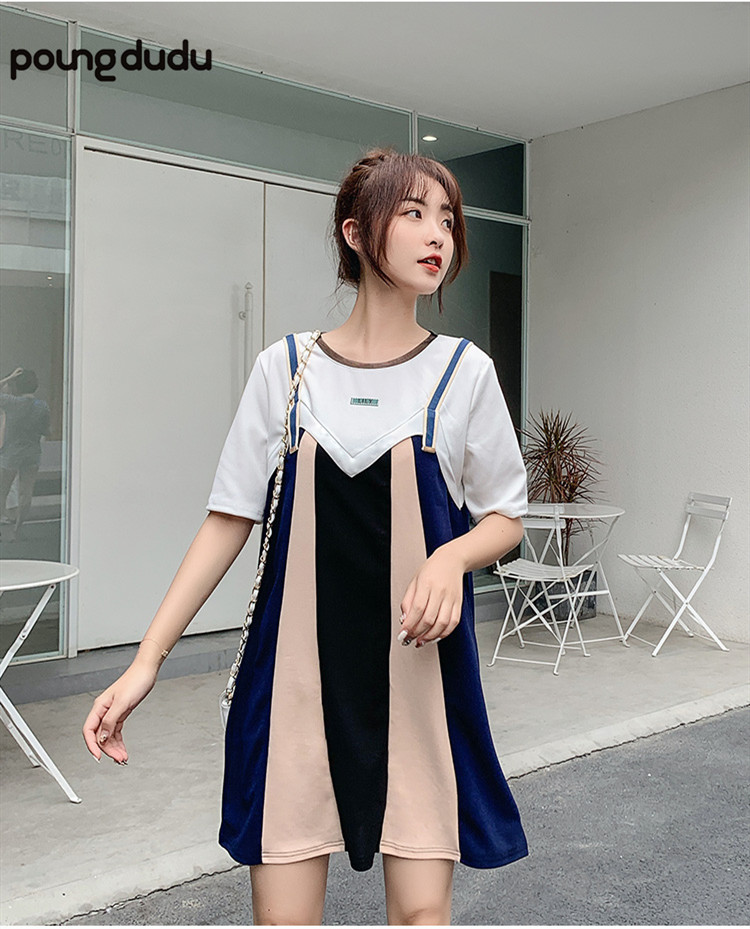 Poungdudu maternity pregnant women summer dress fake two pregnant women skirt loose thin large size female Real shots have videoPoungdudu maternity pregnant women summer dress fake two pregnant women skirt loose thin large size female Real shots have video