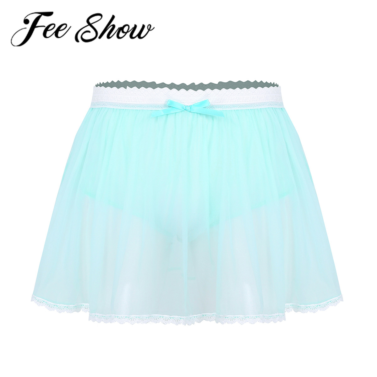Feeshow <font><b>Lingerie</b></font> <font><b>Men</b></font> <font><b>Sexy</b></font> Sissy Panties Short Skirt Male See Through G-string Thong Underwear Transparent Ruffle Tull Crossdress image