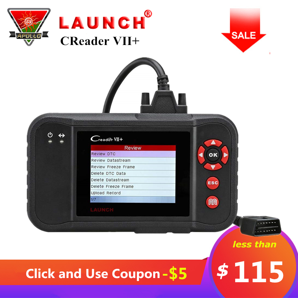 Launch Creader VII+ VII Plus Code Reader OBD2 Car Scanner Test Engine ABS SRS Auto OBDII Diagnostic Tool Free Update pk CRP123