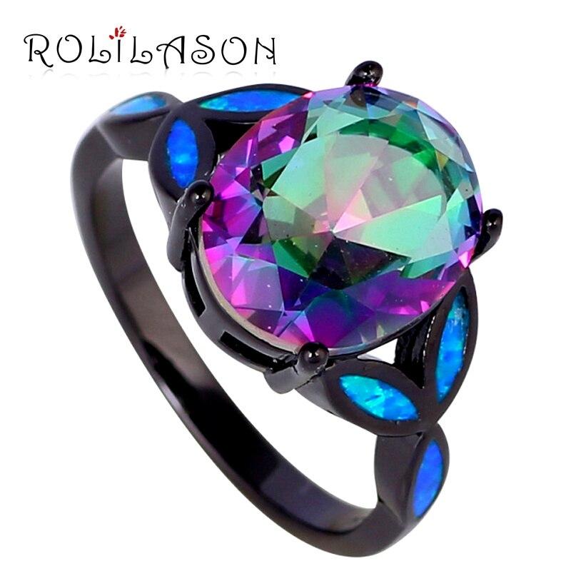 ROLILASON Women silver tone stamped Jewelry Mystic Rainbow Cubic zirconia Blue fire Opal ring fashion jewelry OR750