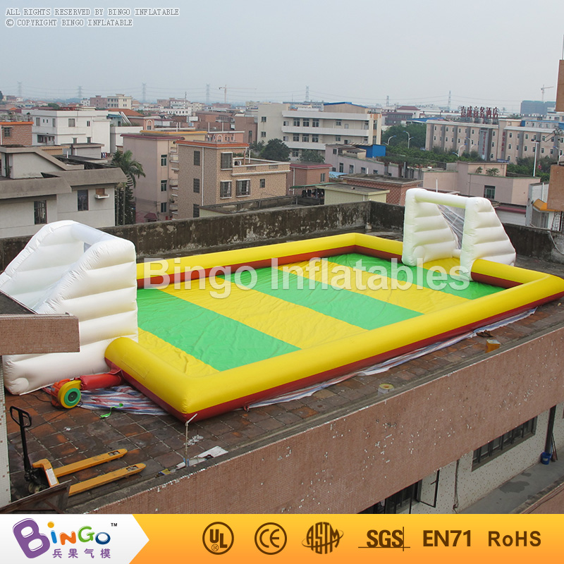 16*8M Portable Inflatable Kids Soccer Court Football Field with Football Gate, inflatable football pitch for Kids N Adults