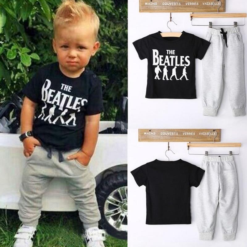 ddfc31eda845e Summer Kids Clothes Sets Short Sleeve Boy T shirt Pants Suit ...