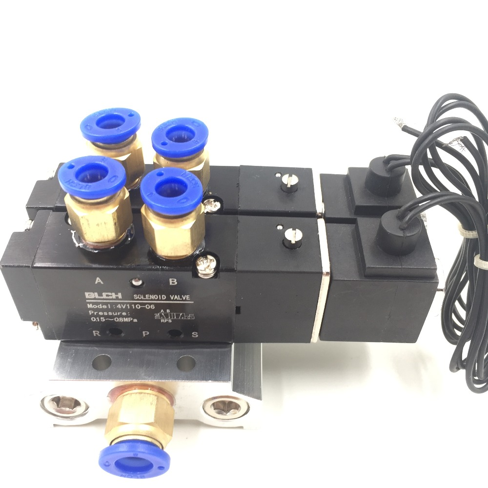 4V110-06 DC 12V 5 Way Dual Solenoid Valve Mufflers Base Quick Fittings Set 5 way pilot solenoid valve sy3220 4d 01