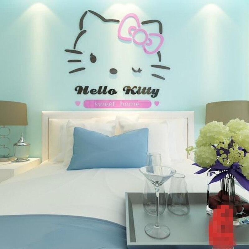 Dessin animé créatif chat maternelle enfants chambre décoration chambre chevet stickers muraux 3D en trois dimensions stickers muraux