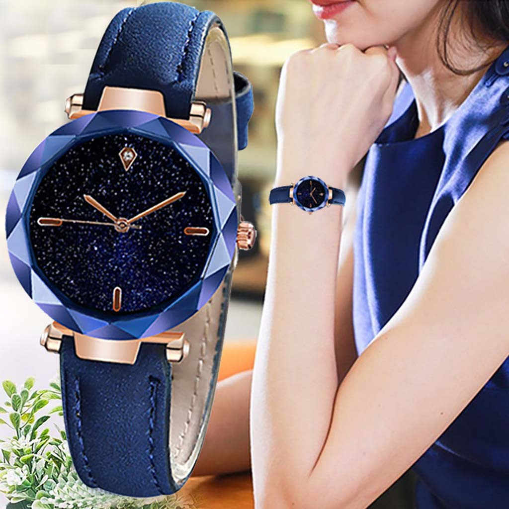 Simple And Stylish Luxurious Starry Dial Convex Mirror Leather Strap Watch women watches dress watch Party decoration gifts gi