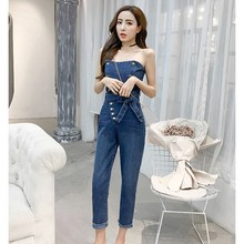 2019 Summer Women Strapless Sleeveless Jeans Jumpsuit Slim Backless Denim Jumpsuit Button Pocket Belt Sexy Rompers