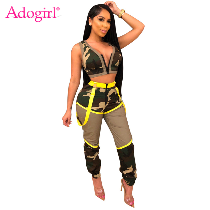 Adogirl Women Sexy Camo Two Piece Set Tracksuit Zipper V Neck Sleeveless Crop Top Tank Vest Straps Bib Pants Night Club Overalls